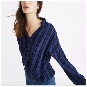 Madewell Chelton Plaid Highroad Popover Top Size S